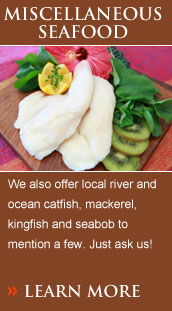 We also offer local river and ocean catfish, mackerel, kingfish and seabob to mention a few. Just ask us!